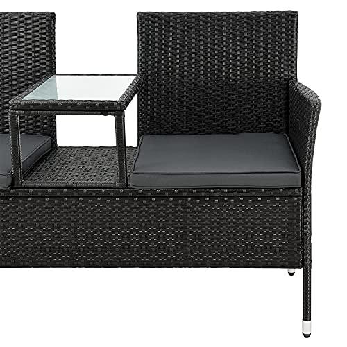 ArtLife Polyrattan Gartenbank Monaco schwarz – 2-Sitzer Bank mit integriertem Tisch & Kissen in Grau – 133 × 63 × 84 cm – Sitzbank wetterfest - 8