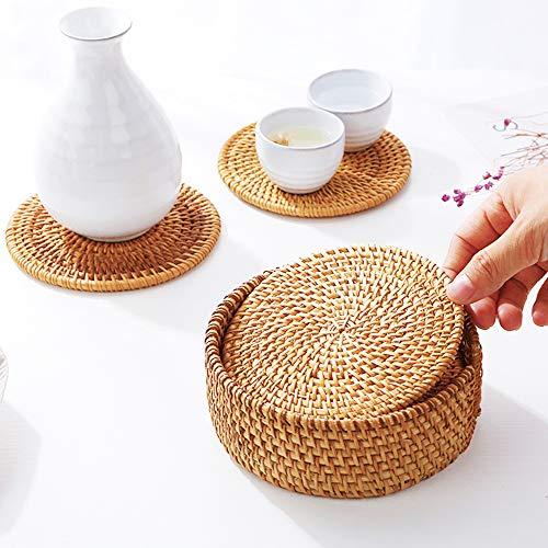 Mopoin Glasuntersetzer, Rattan Untersetzer Handgefertigt Geflochtene Rund Getränkeuntersetzer Holz für Tee, Kaffee, Getränke, Teekanne (10cm) 6 Stück - 5