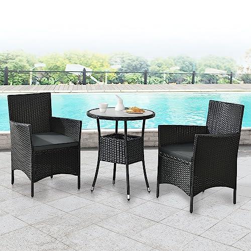 ArtLife Polyrattan Balkon Set Bayamo 2 Personen – Tisch mit Glasplatte & 2 Stühlen – Wetterfeste Balkonmöbel – Auflagen waschbar – schwarz – grau - 2
