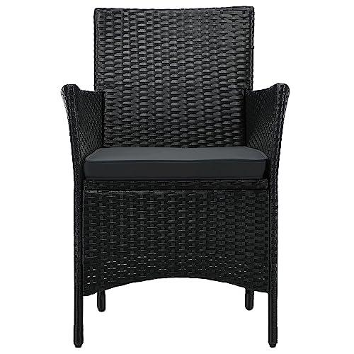 ArtLife Polyrattan Balkon Set Bayamo 2 Personen – Tisch mit Glasplatte & 2 Stühlen – Wetterfeste Balkonmöbel – Auflagen waschbar – schwarz – grau - 7