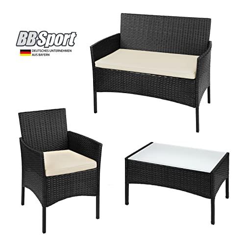 BB Sport 7-teilige Polyrattan Sitzgruppe für 4 Personen inkl. Sitzpolster und Tisch Balkonmöbel Set Sitzgarnitur, Farbe:Titan-Schwarz/Sandstrand - 2