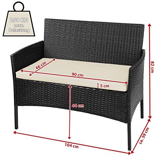 BB Sport 7-teilige Polyrattan Sitzgruppe für 4 Personen inkl. Sitzpolster und Tisch Balkonmöbel Set Sitzgarnitur, Farbe:Titan-Schwarz/Sandstrand - 4