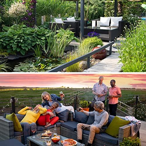 BB Sport 7-teilige Polyrattan Sitzgruppe für 4 Personen inkl. Sitzpolster und Tisch Balkonmöbel Set Sitzgarnitur, Farbe:Titan-Schwarz/Sandstrand - 7