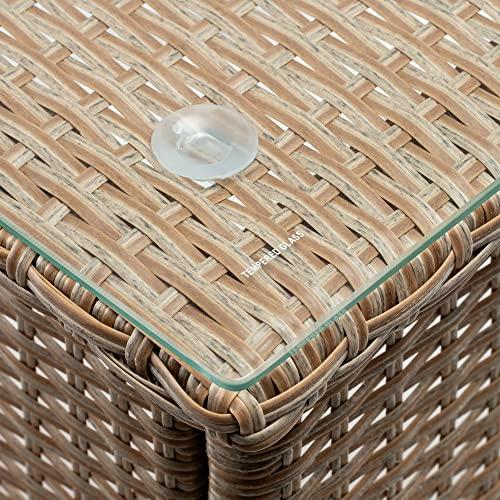 Casaria Poly Rattan Beistelltisch Balkontisch Gartentisch 50x50x45 cm Glasplatte Wetterfest Kaffeetisch Teetisch Garten – Grau Creme - 4