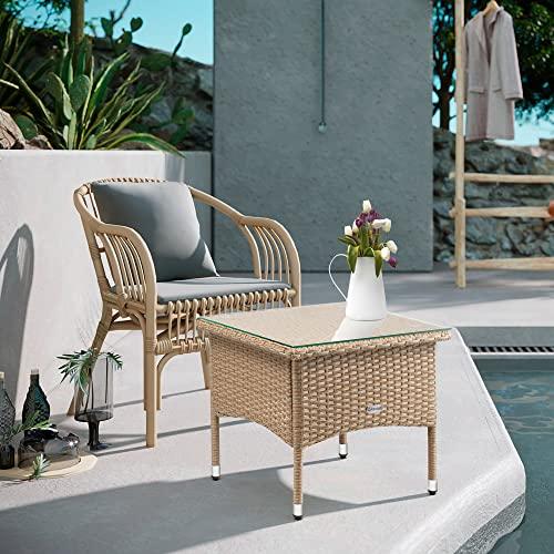 Casaria Poly Rattan Beistelltisch Balkontisch Gartentisch 50x50x45 cm Glasplatte Wetterfest Kaffeetisch Teetisch Garten – Grau Creme - 8