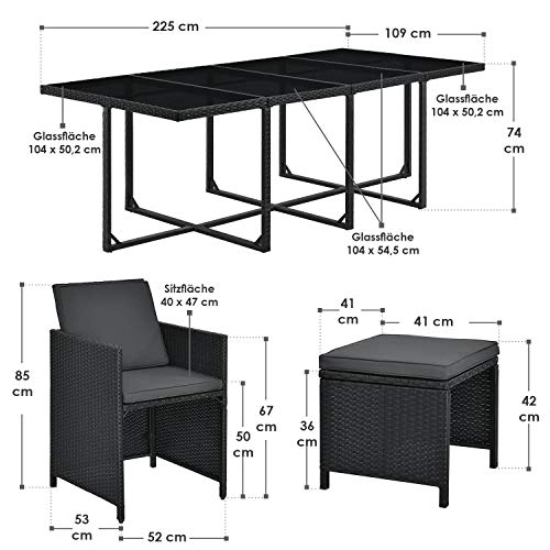 Juskys Polyrattan Sitzgruppe Baracoa XXL 13-teilig wetterfest & stapelbar – Gartenmöbel Set mit 8 Stühle, 4 Hocker & Tisch für Garten & Terrasse - 2
