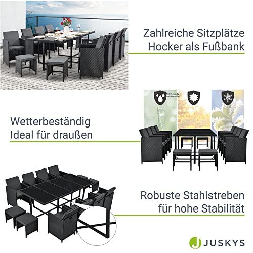 Juskys Polyrattan Sitzgruppe Baracoa XXL 13-teilig wetterfest & stapelbar – Gartenmöbel Set mit 8 Stühle, 4 Hocker & Tisch für Garten & Terrasse - 4