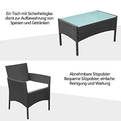 wolketon Gartenmöbel Set Poly Rattan Balkonmöbel Sitzgruppe Schwarz Langlebig Lounge Set Mit 2-er Sofa, Singlestühle, Tisch und Sitzkissen - 4