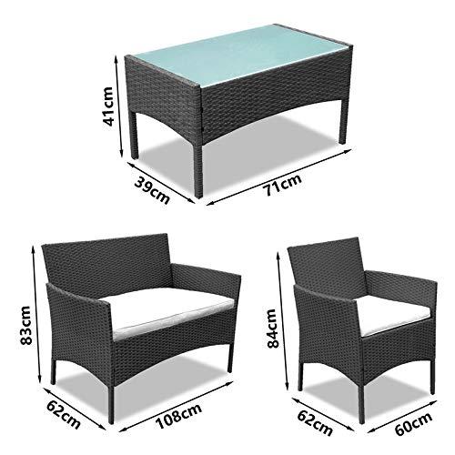 wolketon Gartenmöbel Set Poly Rattan Balkonmöbel Sitzgruppe Schwarz Langlebig Lounge Set Mit 2-er Sofa, Singlestühle, Tisch und Sitzkissen - 5