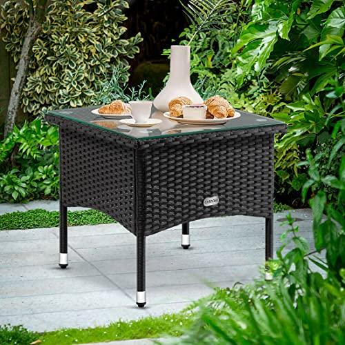 Deuba Polyrattan Tisch Beistelltisch Rattan Teetisch Gartentisch Glasplatte 50x50x45cm schwarz Garten Möbel - 2
