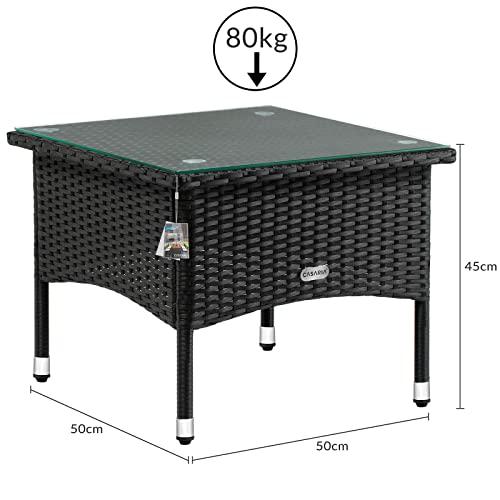 Deuba Polyrattan Tisch Beistelltisch Rattan Teetisch Gartentisch Glasplatte 50x50x45cm schwarz Garten Möbel - 3