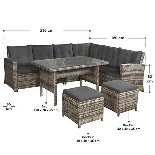 ArtLife Polyrattan Sitzgruppe Lounge Santa Catalina beige-grau – Gartenmöbel-Set mit Eck-Sofa & Tisch – bis 6 Personen – wetterfest & stabil - 6