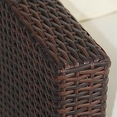 SVITA Lugano Poly Rattan Lounge Garten-Set XXL Sofa-Set Garnitur Gartenmöbel Couch-Set (XXL, Braun) - 3