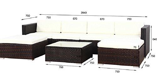 SVITA Lugano Poly Rattan Lounge Garten-Set XXL Sofa-Set Garnitur Gartenmöbel Couch-Set (XXL, Braun) - 7