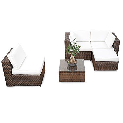 XINRO® erweiterbares 15tlg. Balkon Polyrattan Lounge Ecke – braun – Sitzgruppe Garnitur Gartenmöbel Lounge Möbel Set aus Polyrattan – inkl. Lounge Sessel + Ecke + Hocker + Tisch + Kissen - 2