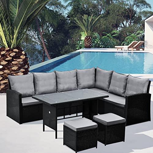 SVITA Monroe Garten-Lounge Set Polyrattan Lounge-Möbel Sitzgruppe Garten Schwarz - 2