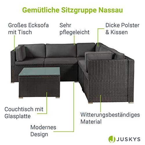 ArtLife Polyrattan Lounge Nassau schwarz   Gartenmöbel Set mit Ecksofa & Tisch   Bezüge in Grau   Sitzgruppe für Terrasse   Loungemöbel Gartenlounge - 3
