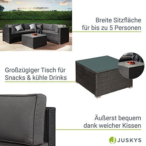 ArtLife Polyrattan Lounge Nassau schwarz   Gartenmöbel Set mit Ecksofa & Tisch   Bezüge in Grau   Sitzgruppe für Terrasse   Loungemöbel Gartenlounge - 4