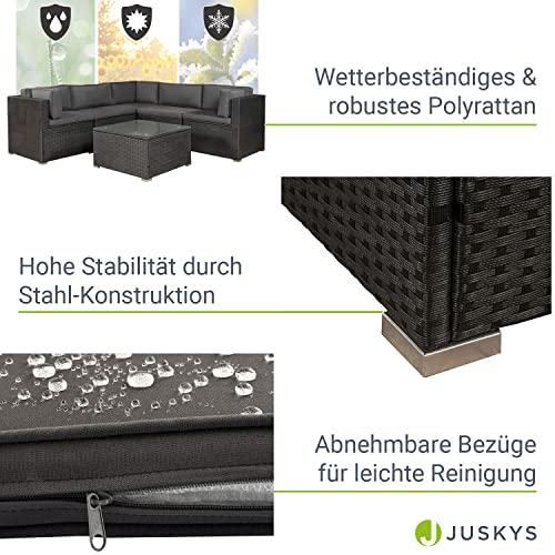 ArtLife Polyrattan Lounge Nassau schwarz   Gartenmöbel Set mit Ecksofa & Tisch   Bezüge in Grau   Sitzgruppe für Terrasse   Loungemöbel Gartenlounge - 5