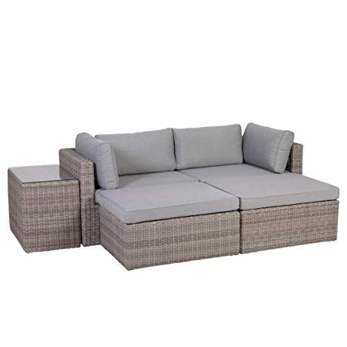 Greemotion Palma Rattan Lounge-Set, grau