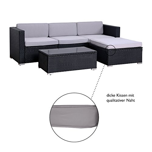 SVITA California Poly-Rattan Lounge Gartenset Sofa-Set Garnitur Gartenmöbel Couch-Set - 8