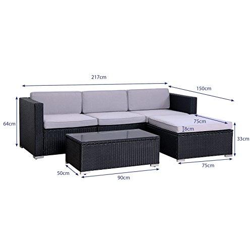 SVITA California Poly-Rattan Lounge Gartenset Sofa-Set Garnitur Gartenmöbel Couch-Set - 2