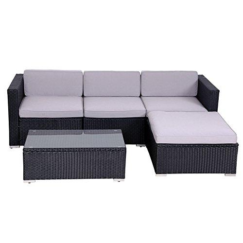 SVITA California Poly-Rattan Lounge Gartenset Sofa-Set Garnitur Gartenmöbel Couch-Set - 4