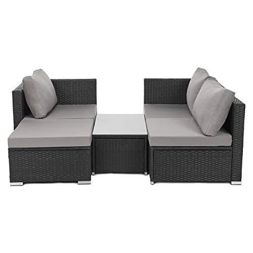 SVITA Queens Poly Rattan Sitzgruppe Couch-Set Ecksofa Sofa-Garnitur Gartenmöbel Lounge Schwarz, Grau oder Braun (Schwarz) - 2