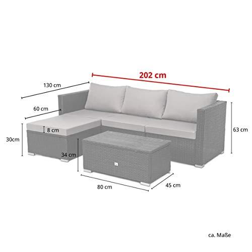 SVITA Queens Poly Rattan Sitzgruppe Couch-Set Ecksofa Sofa-Garnitur Gartenmöbel Lounge Schwarz, Grau oder Braun (Schwarz) - 3
