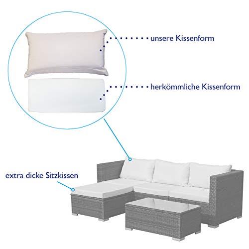 SVITA Queens Poly Rattan Sitzgruppe Couch-Set Ecksofa Sofa-Garnitur Gartenmöbel Lounge Schwarz, Grau oder Braun (Schwarz) - 5