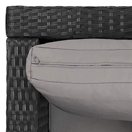 SVITA Queens Poly Rattan Sitzgruppe Couch-Set Ecksofa Sofa-Garnitur Gartenmöbel Lounge Schwarz, Grau oder Braun (Schwarz) - 6