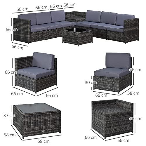 Outsunny 8-TLG. Polyrattan Gartengarnitur Gartenmöbel Garten-Set Sitzgruppe Loungeset Loungemöbel Beistelltisch als Aufbewahrungskorb Grau Stahl + Polyester 58 x 58 x 37 cm - 3
