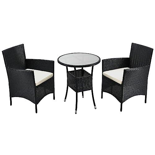 ArtLife Polyrattan Balkon Set Bayamo 2 Personen – Tisch mit Glasplatte & 2 Stühlen – Wetterfeste Balkonmöbel – Auflagen waschbar – schwarz - Creme