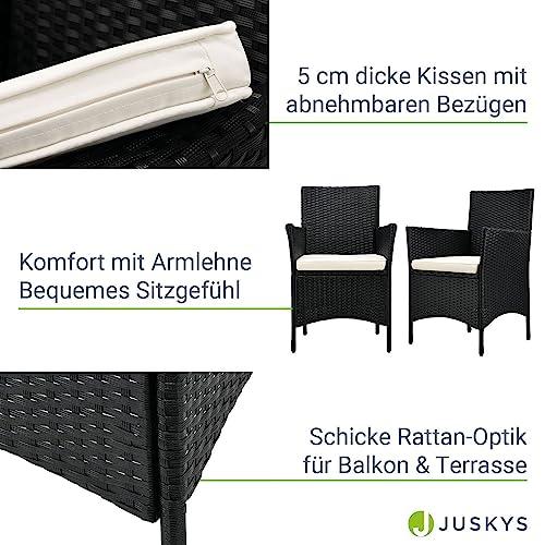ArtLife Polyrattan Balkon Set Bayamo 2 Personen – Tisch mit Glasplatte & 2 Stühlen – Wetterfeste Balkonmöbel – Auflagen waschbar – schwarz – Creme - 5