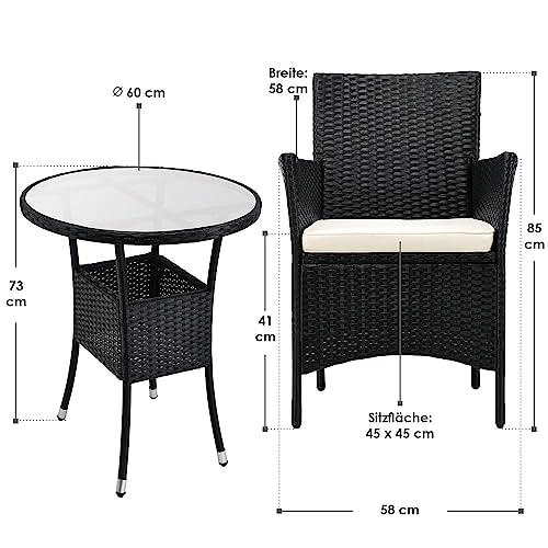 ArtLife Polyrattan Balkon Set Bayamo 2 Personen – Tisch mit Glasplatte & 2 Stühlen – Wetterfeste Balkonmöbel – Auflagen waschbar – schwarz – Creme - 7