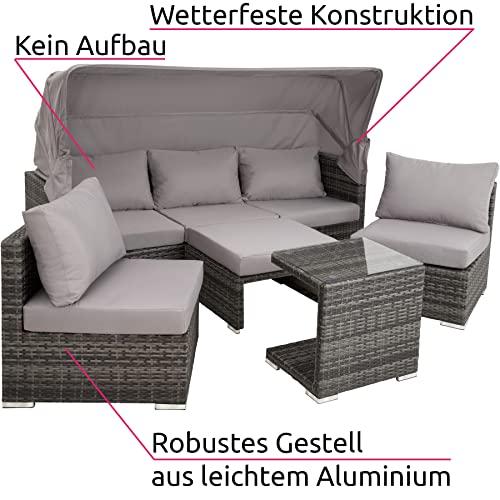 TecTake 800771 Aluminium Poly Rattan Lounge Set, 16-teilig, wetterfest, Garten Sofa mit Sonnendach, Outdoor Sitzgruppe inkl. Kissen und Beistelltisch – Diverse Farben – (Grau   Nr. 403237) - 2