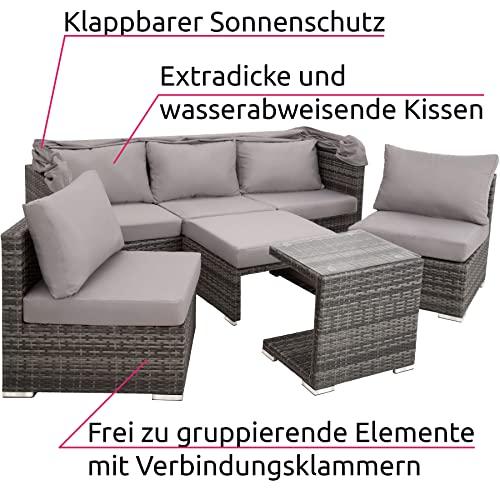 TecTake 800771 Aluminium Poly Rattan Lounge Set, 16-teilig, wetterfest, Garten Sofa mit Sonnendach, Outdoor Sitzgruppe inkl. Kissen und Beistelltisch - Diverse Farben - (Grau | Nr. 403237) - 5