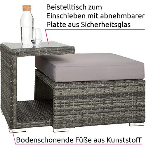 TecTake 800771 Aluminium Poly Rattan Lounge Set, 16-teilig, wetterfest, Garten Sofa mit Sonnendach, Outdoor Sitzgruppe inkl. Kissen und Beistelltisch – Diverse Farben – (Grau   Nr. 403237) - 4