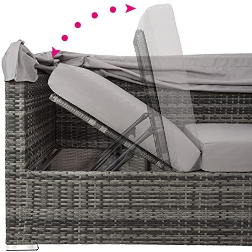 TecTake 800771 Aluminium Poly Rattan Lounge Set, 16-teilig, wetterfest, Garten Sofa mit Sonnendach, Outdoor Sitzgruppe inkl. Kissen und Beistelltisch – Diverse Farben – (Grau   Nr. 403237) - 7
