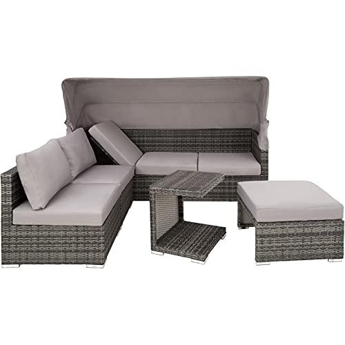 TecTake 800771 Aluminium Poly Rattan Lounge Set, 16-teilig, wetterfest, Garten Sofa mit Sonnendach, Outdoor Sitzgruppe inkl. Kissen und Beistelltisch – Diverse Farben – (Grau   Nr. 403237) - 8