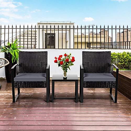 Yaheetech Gartenmöbelset 3 teilig Polyrattan Sitzgruppe Gartengarnitur Balkon-Set Lounge-Set Schwarz mit Sitzkissen - 3