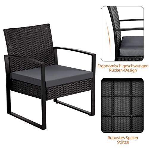 Yaheetech Gartenmöbelset 3 teilig Polyrattan Sitzgruppe Gartengarnitur Balkon-Set Lounge-Set Schwarz mit Sitzkissen - 7