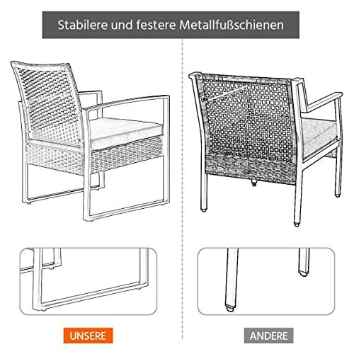 Yaheetech Gartenmöbelset 3 teilig Polyrattan Sitzgruppe Gartengarnitur Balkon-Set Lounge-Set Schwarz mit Sitzkissen - 9