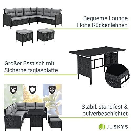 ArtLife Polyrattan Lounge Manacor | Gartenmöbel Set mit Sofa, Tisch & 2 Hockern | Bezüge grau | Sitzgruppe für Garten, Terrasse & Balkon - 4