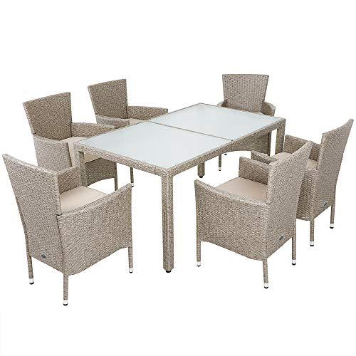 Deuba Poly Rattan Sitzgruppe Grau Beige 6 Stapelbare Stühle 1 Tisch 7cm Dicke Auflagen Sitzgarnitur Gartenmöbel Garten