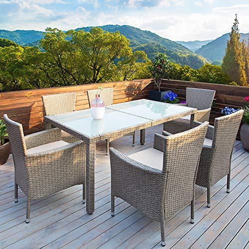 Deuba Poly Rattan Sitzgruppe Grau Beige 6 Stapelbare Stühle 1 Tisch 7cm Dicke Auflagen Sitzgarnitur Gartenmöbel Garten - 2