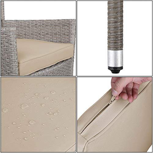 Deuba Poly Rattan Sitzgruppe Grau Beige 6 Stapelbare Stühle 1 Tisch 7cm Dicke Auflagen Sitzgarnitur Gartenmöbel Garten - 4