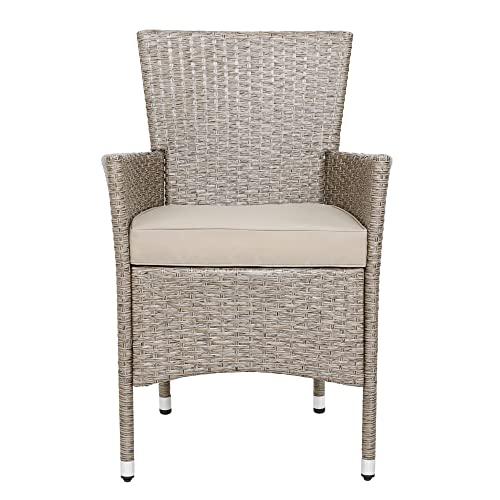 Deuba Poly Rattan Sitzgruppe Grau Beige 6 Stapelbare Stühle 1 Tisch 7cm Dicke Auflagen Sitzgarnitur Gartenmöbel Garten - 5
