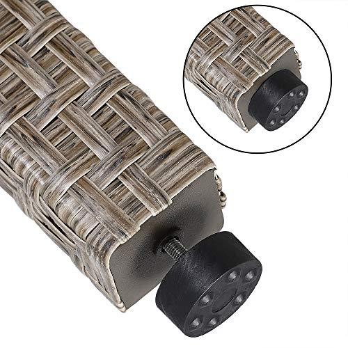 Deuba Poly Rattan Sitzgruppe Grau Beige 6 Stapelbare Stühle 1 Tisch 7cm Dicke Auflagen Sitzgarnitur Gartenmöbel Garten - 8