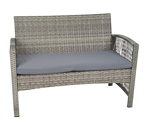MT MALATEC Polyrattan Gartenmöbel Sitzgruppe Sofa Garnitur Gartenmöbel Gartenset Tisch 11961, Farbe:Grau - 4